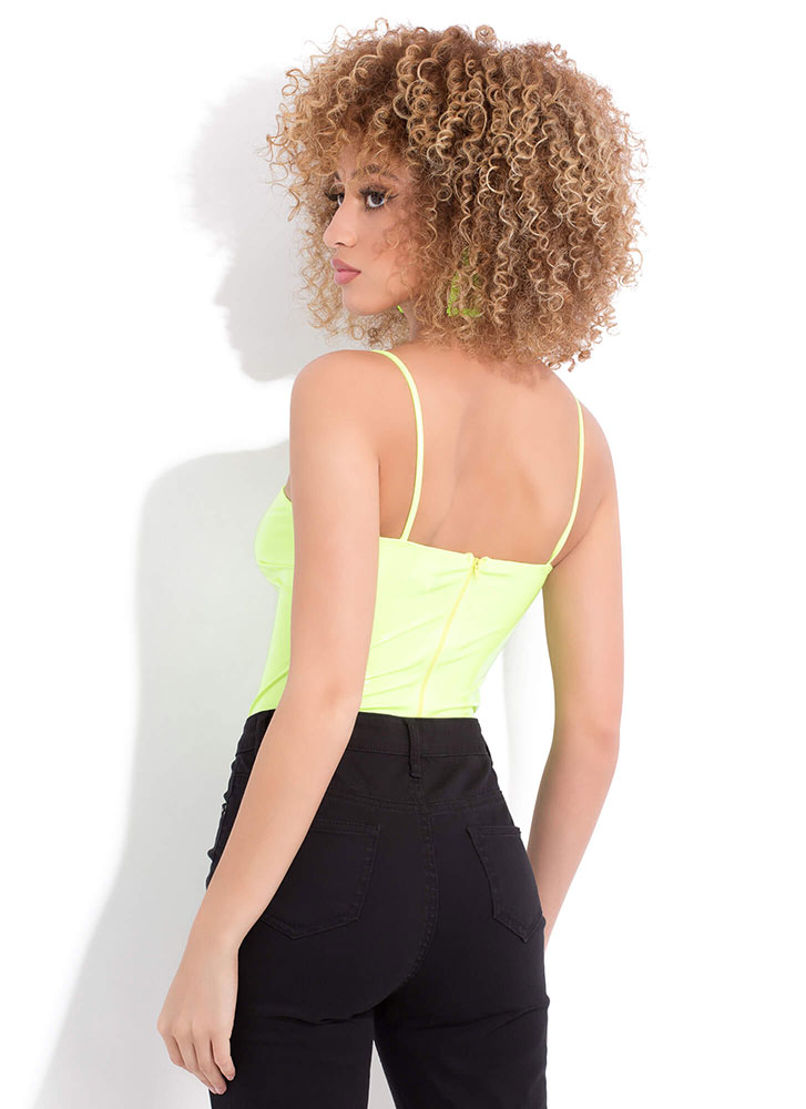 Glamour And Gloss Faux Patent Bodysuit NEONYELLOW