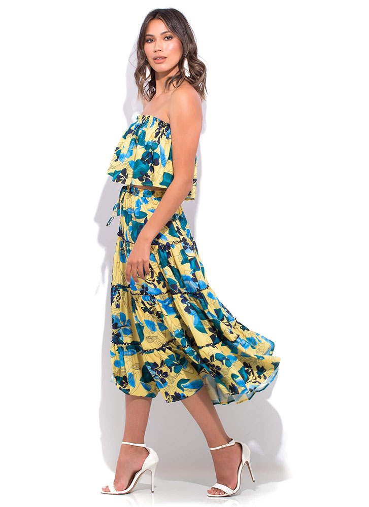 Floral Flare Tiered 2-Piece Dress YELLOWMULTI