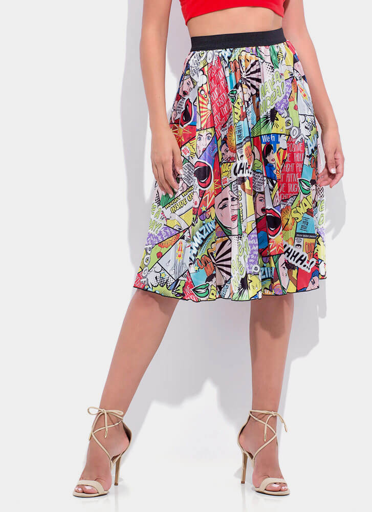 Comic Relief Pleated Midi Skirt MULTI