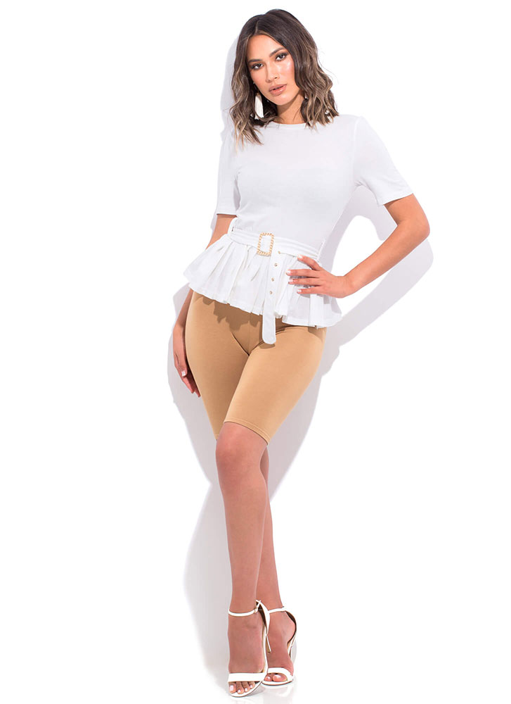 Class Of Its Own Belted Peplum Top WHITE
