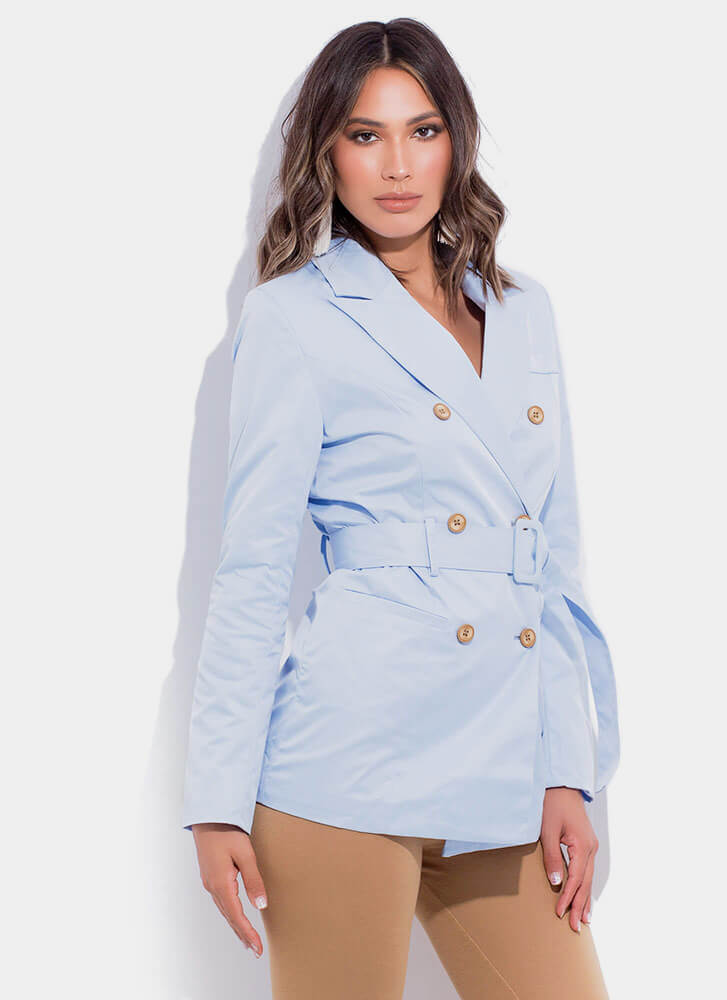 Boss Babe Belted Double-Breasted Blazer LTBLUE