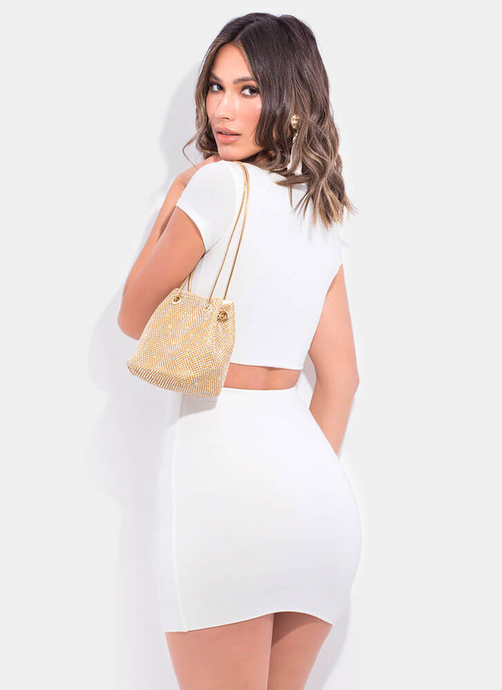 A Little Knotty Top And Skirt Set WHITE