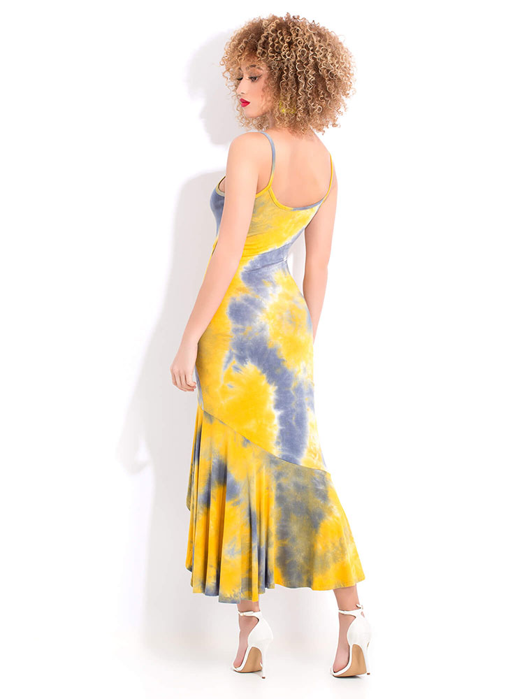 Roll The Tie-Dye High-Low Maxi Dress MUSTRDMLTI