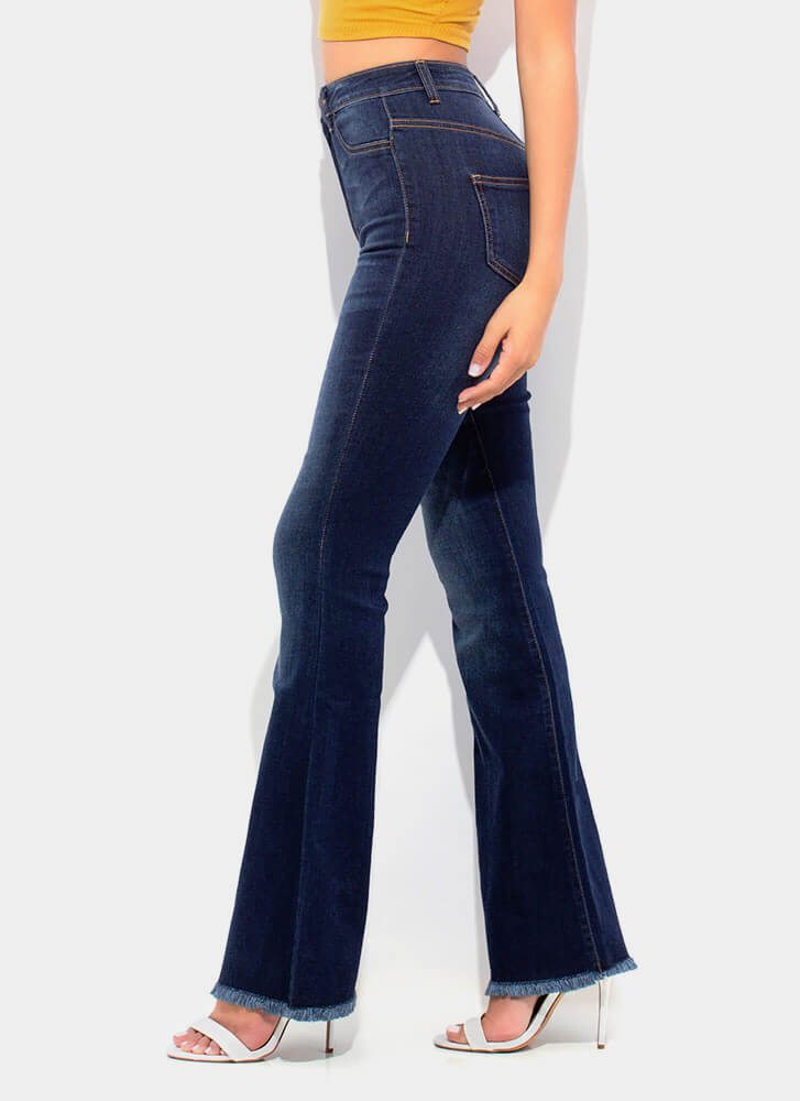 Denim Flare Fringed Bell-Bottom Jeans DKBLUE