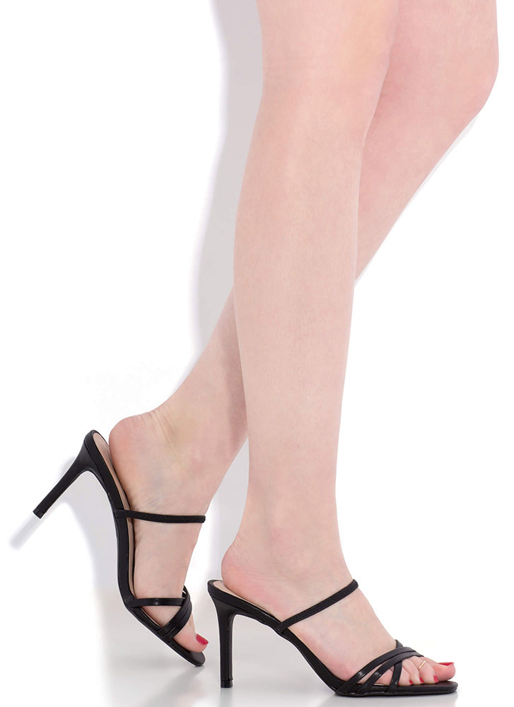 All You Need Strappy Slip-On Heels BLACK