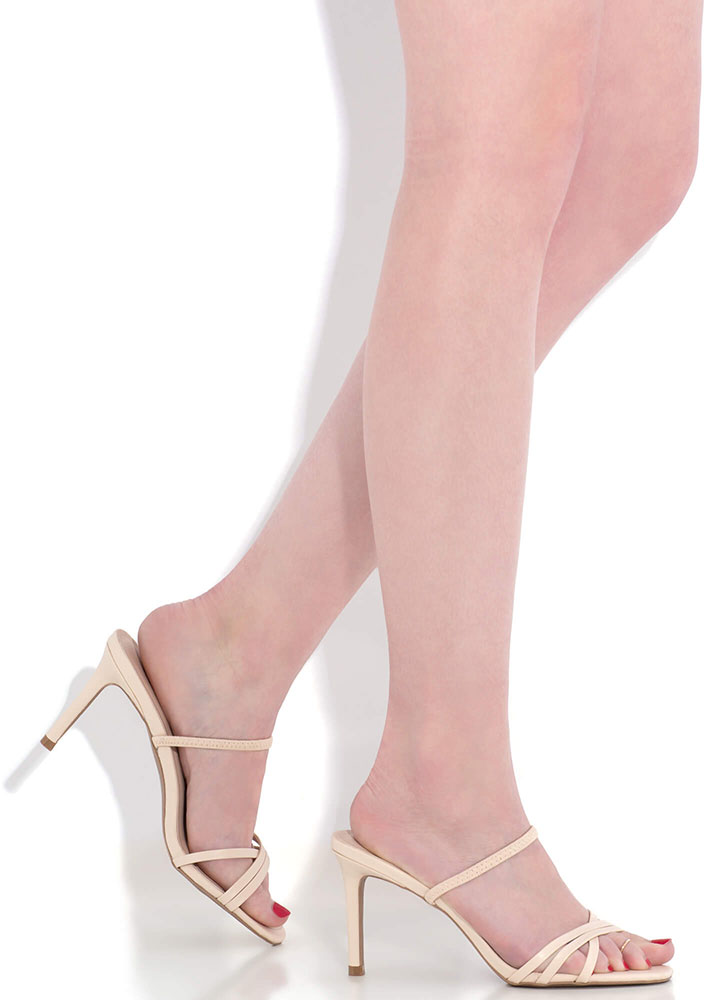 All You Need Strappy Slip-On Heels NUDE