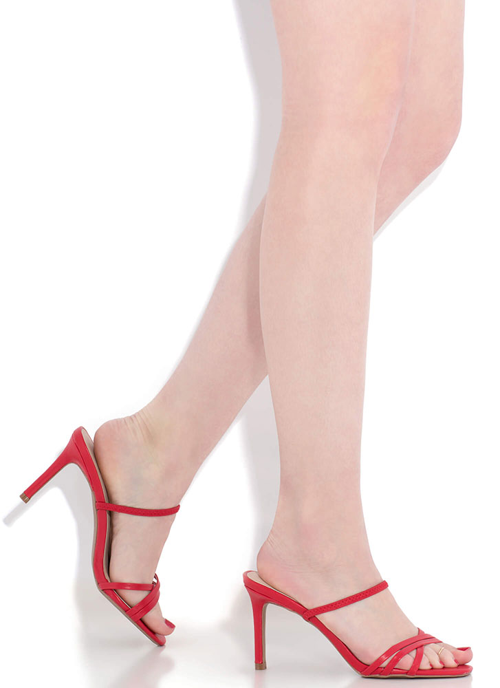 All You Need Strappy Slip-On Heels RED