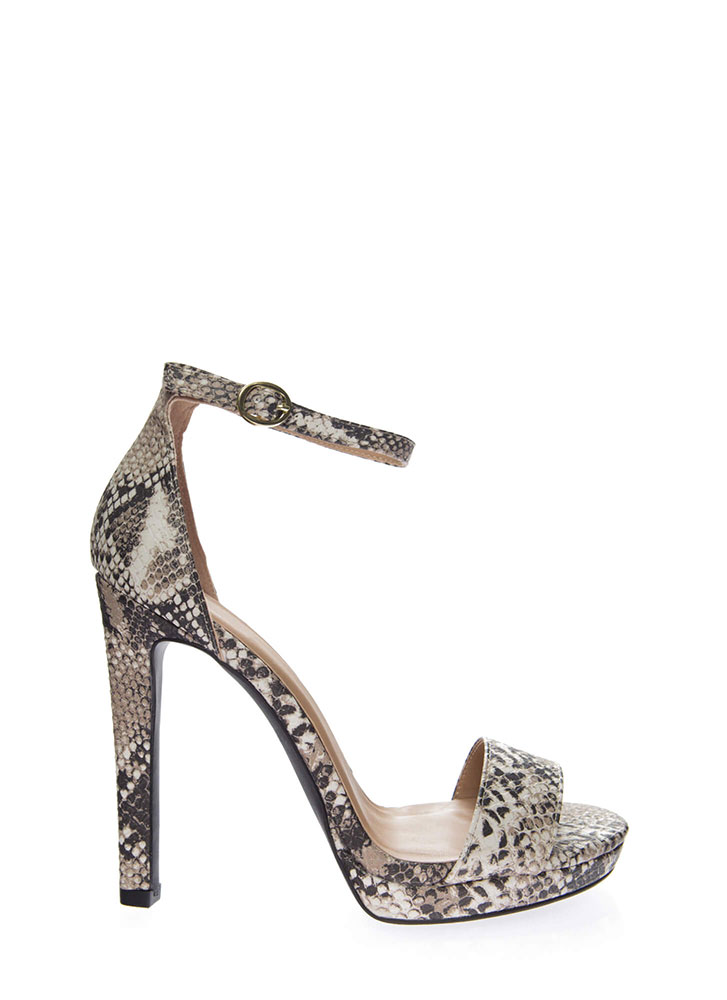 Snake Things Up Ankle Strap Heels BEIGEBROWN