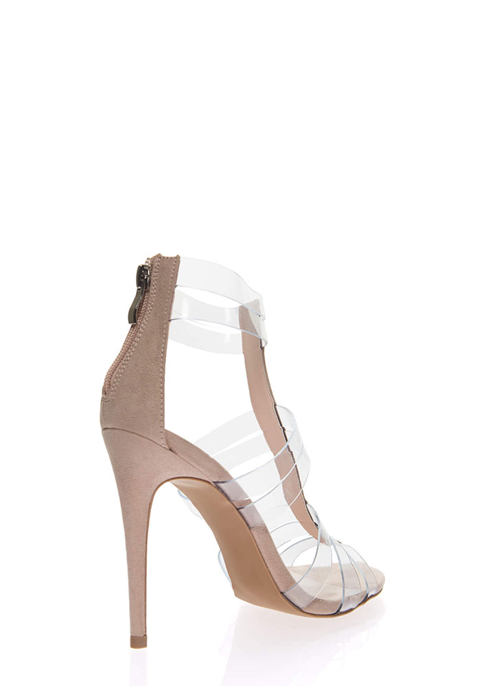 In The Clear Strappy Illusion Heels BLUSH