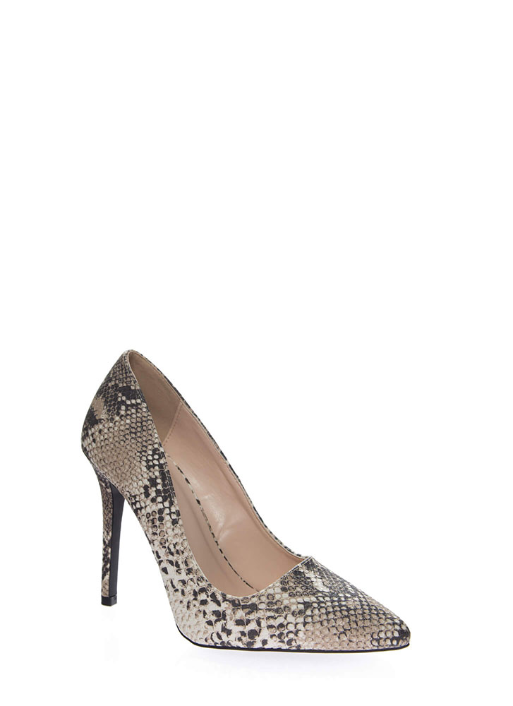 All Signs Point To Snake Print Pumps BEIGEBROWN