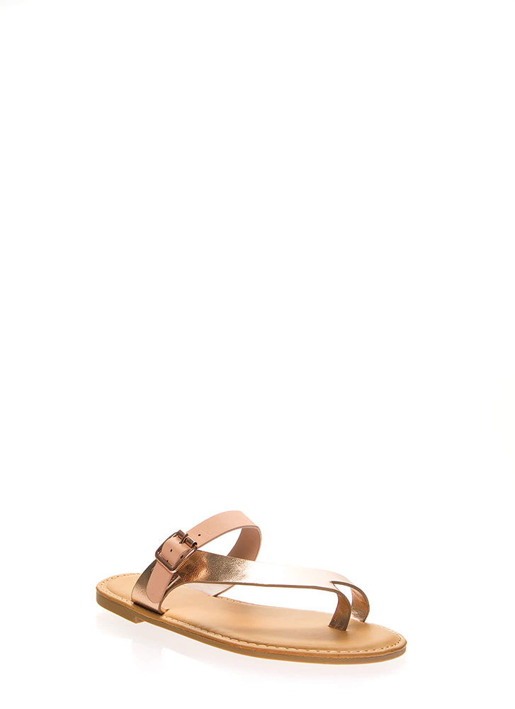 Toe Re Mi Shiny Diagonal Strap Sandals ROSEGOLD
