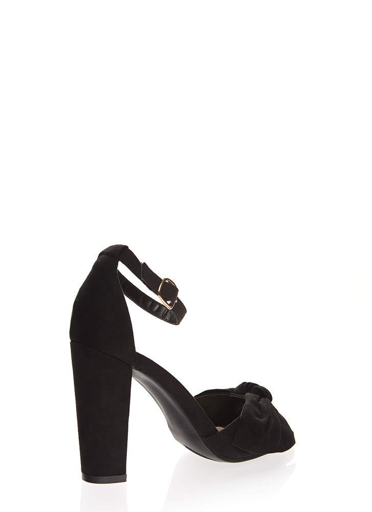 Knot For Long Faux Suede Chunky Heels BLACK