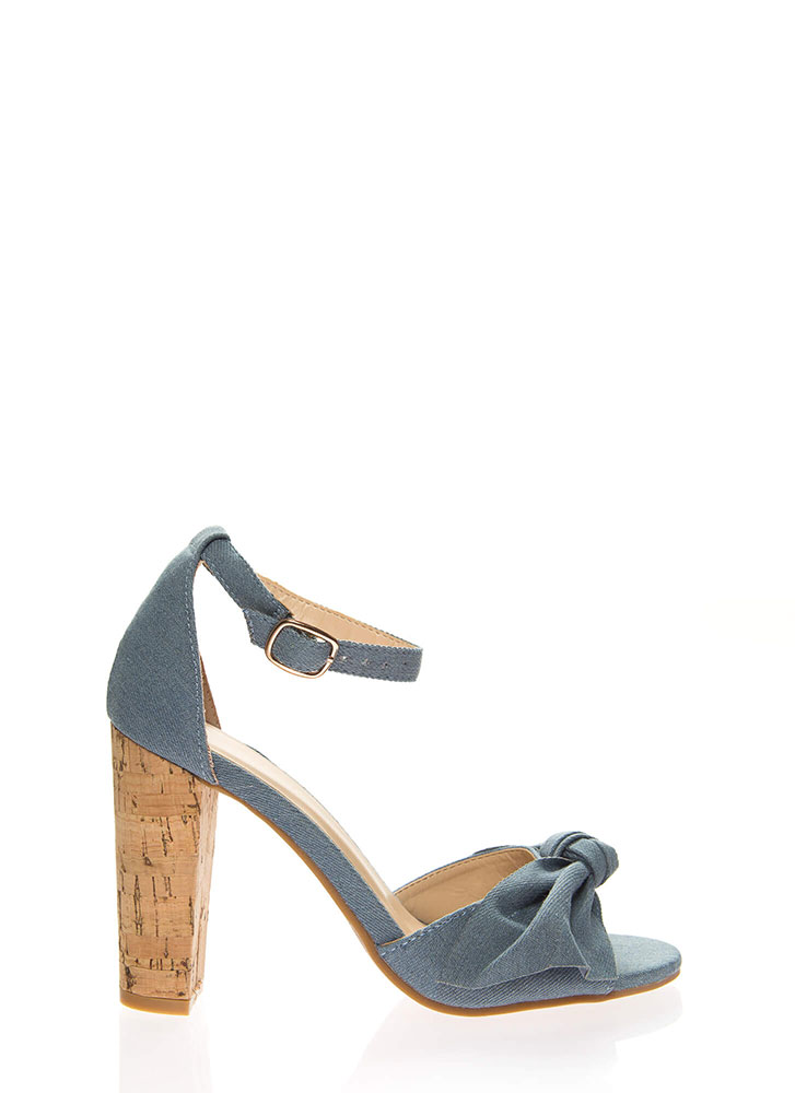 Knot For Long Denim Chunky Heels BLUE
