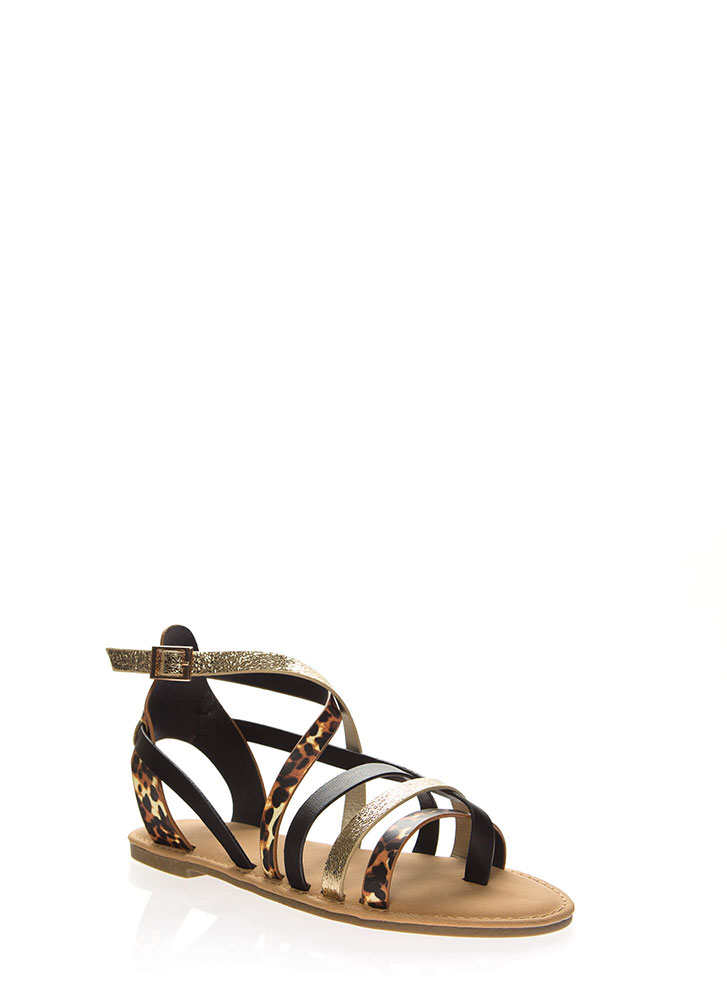 Variety Multi-Strap Caged Sandals LEOPARD