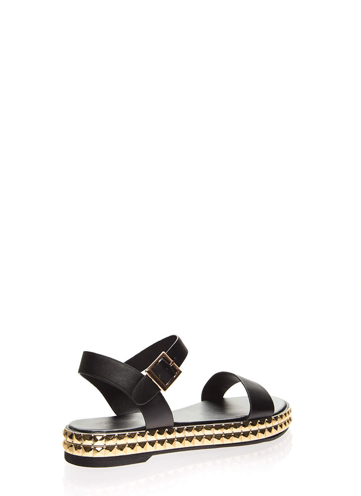 Tile Me A Story Strappy Studded Sandals BLACK