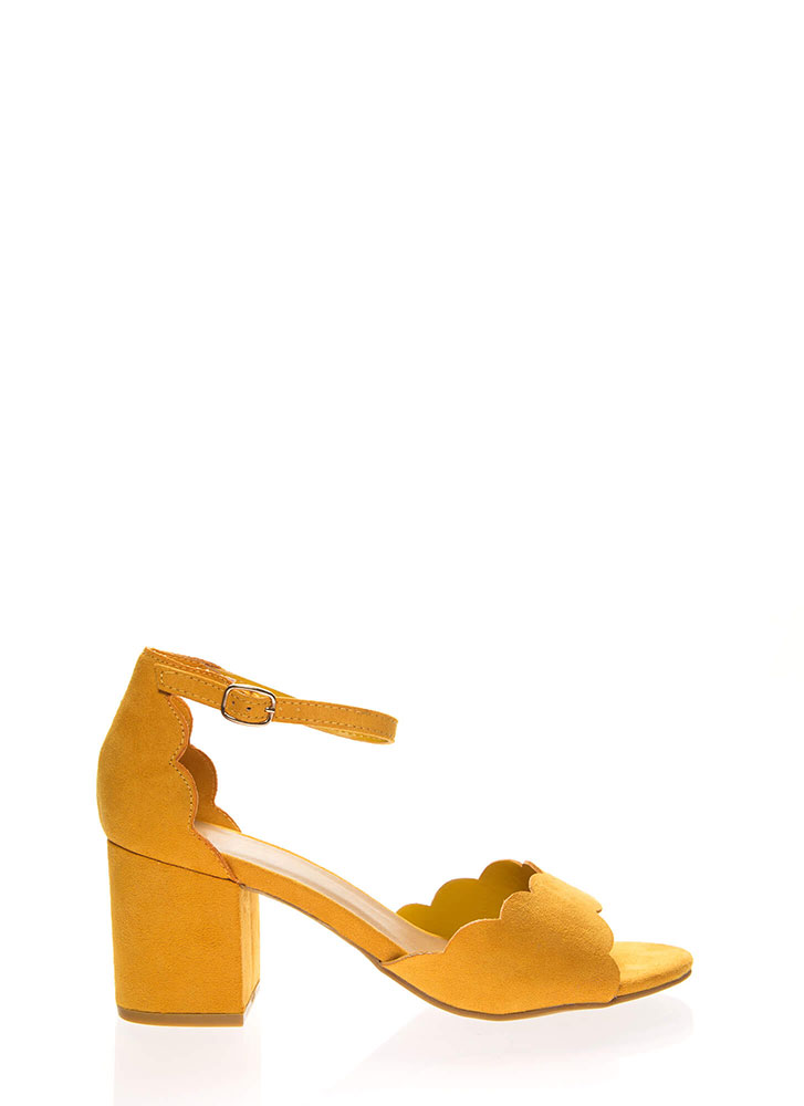 Around The Block Scalloped Chunky Heels MARIGOLD