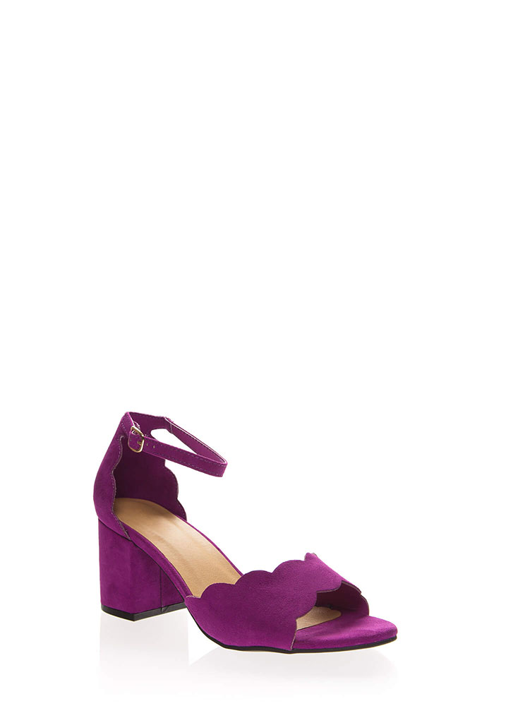 Around The Block Scalloped Chunky Heels RASPBERRY