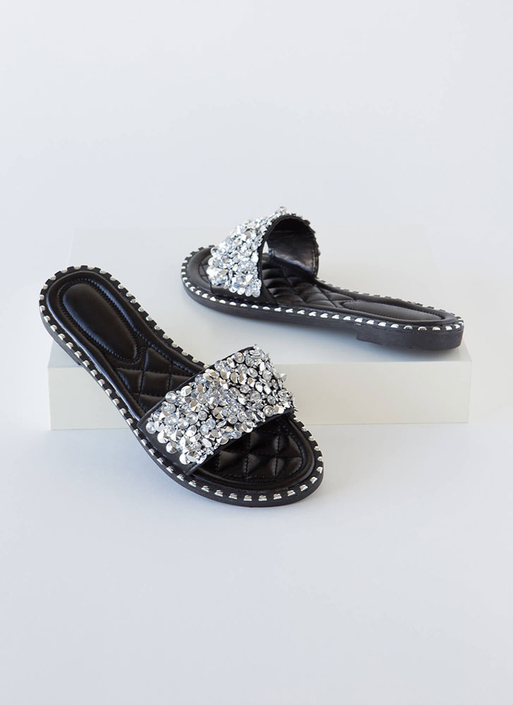So Much Sparkle Metallic Slide Sandals BLACK
