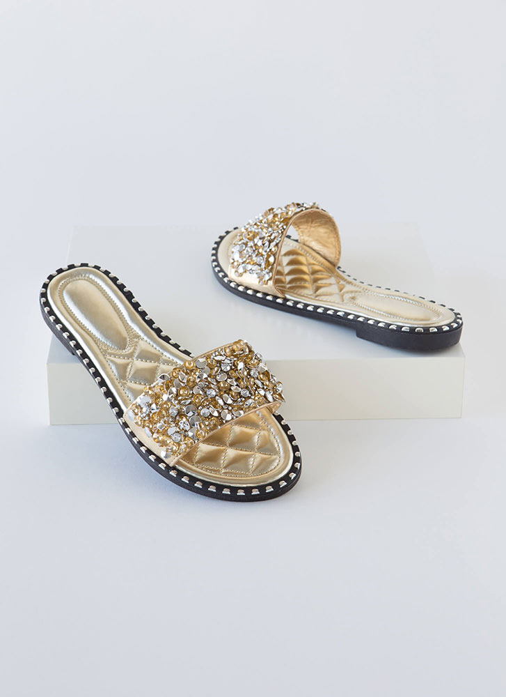 So Much Sparkle Metallic Slide Sandals GOLD