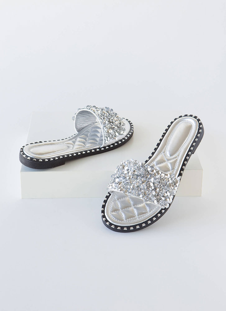 So Much Sparkle Metallic Slide Sandals SILVER