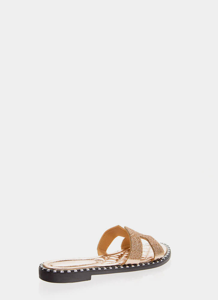Sparkle Cut-Out Rhinestone Slide Sandals ROSEGOLD