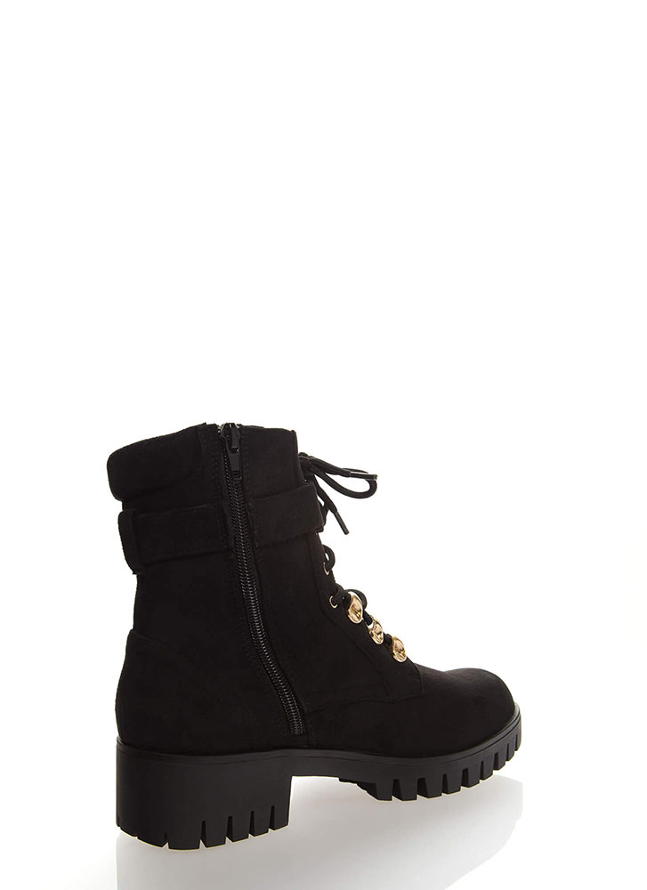 Strapped For Lug Sole Combat Boots BLACK