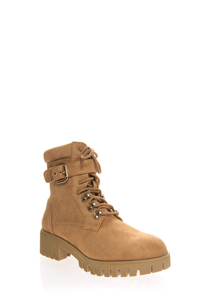 Strapped For Lug Sole Combat Boots CAMEL