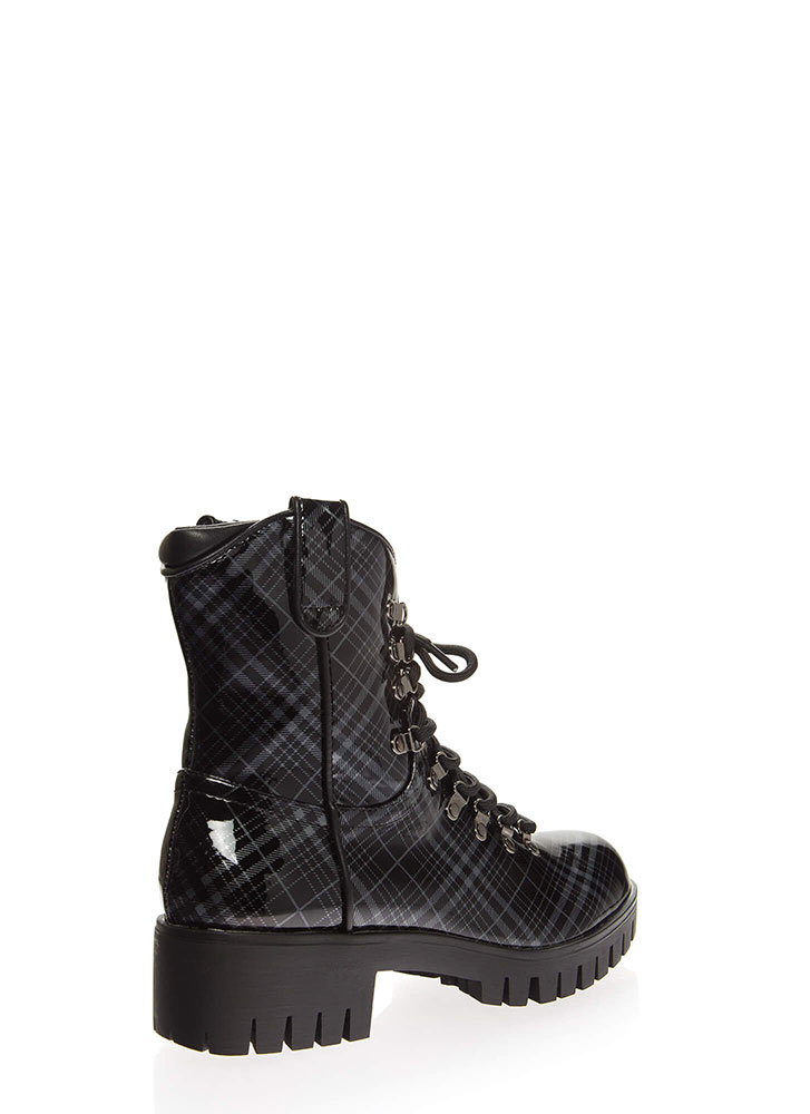 You Plaid Girl Faux Patent Combat Boots BLACK (You Saved $29)