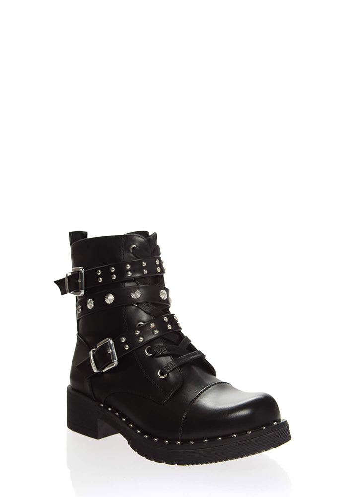 You Stud You Strappy Moto Combat Boots BLACK