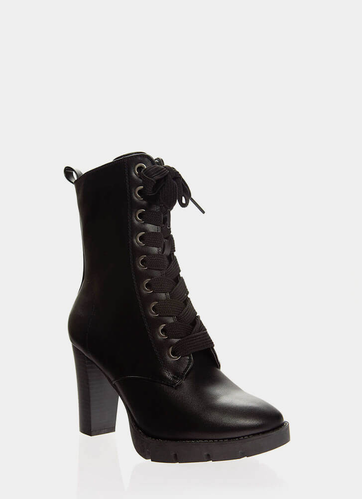 High Command Chunky Lace-Up Booties BLACK