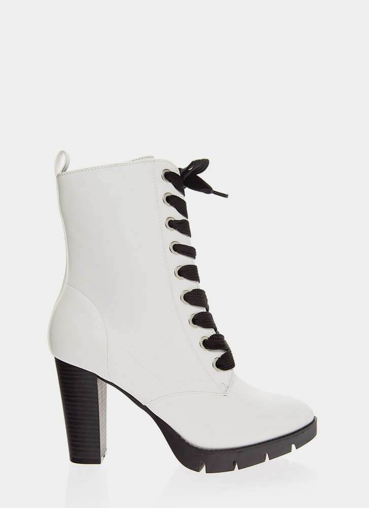 High Command Chunky Lace-Up Booties WHITE