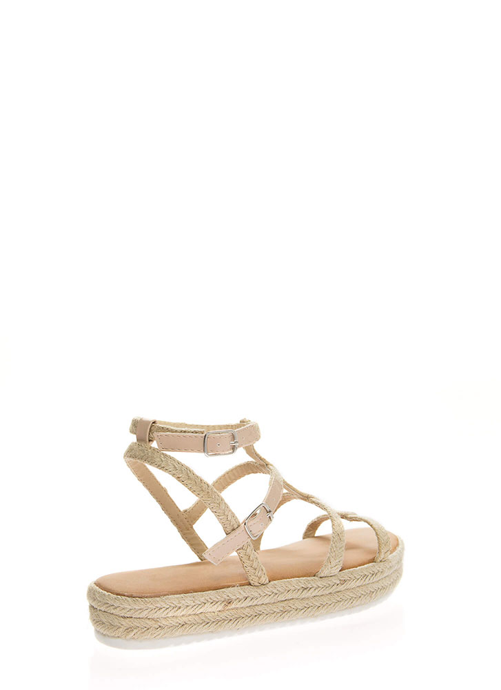 Better Braided Caged Platform Sandals BEIGE