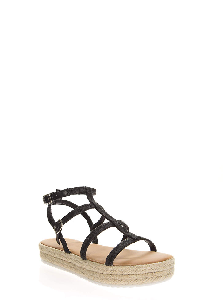 Better Braided Caged Platform Sandals BLACK