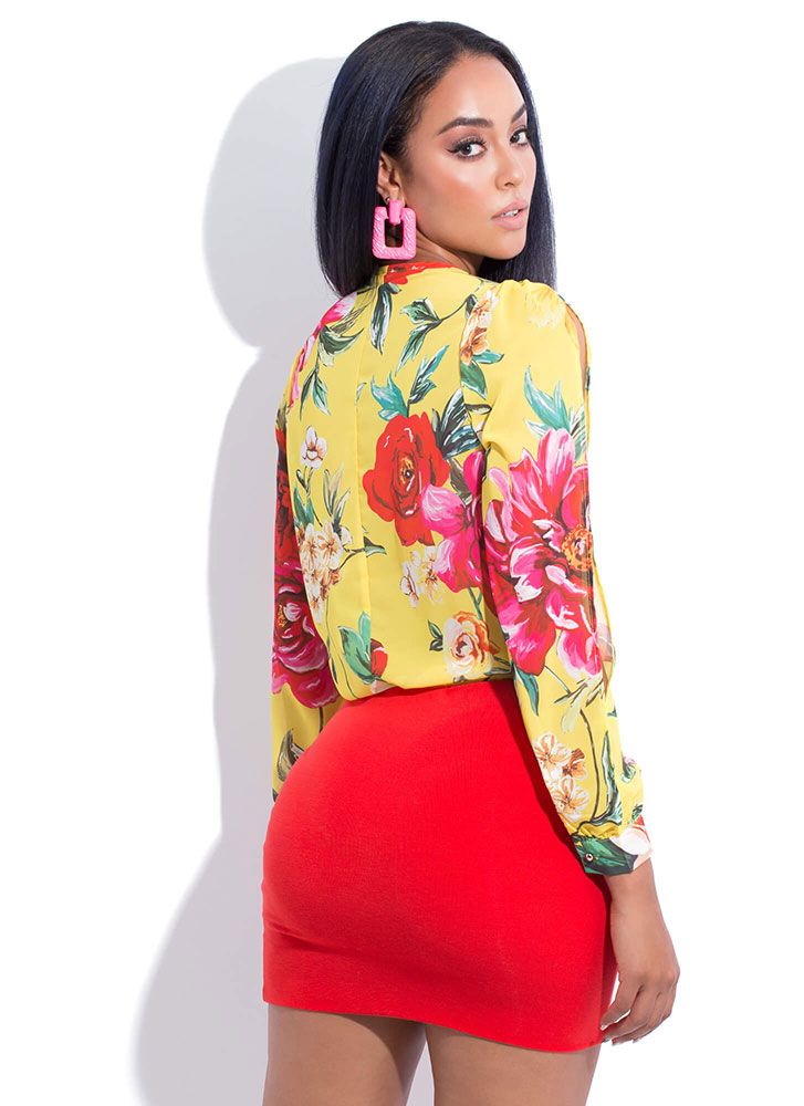 Flowery Scent Blousy Floral Bodysuit YELLOW