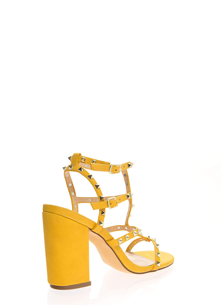 Fancy You Studded Caged Block Heels MUSTARD