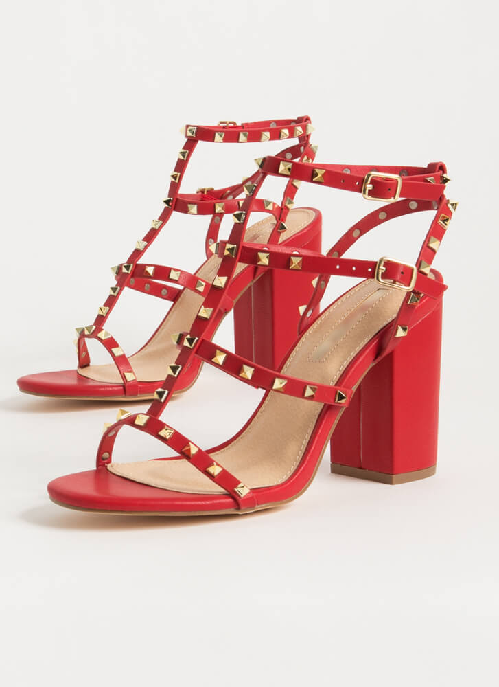 Fancy You Studded Caged Block Heels RED
