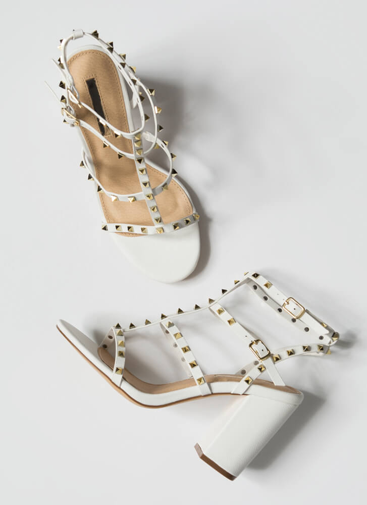 Fancy You Studded Caged Block Heels WHITE