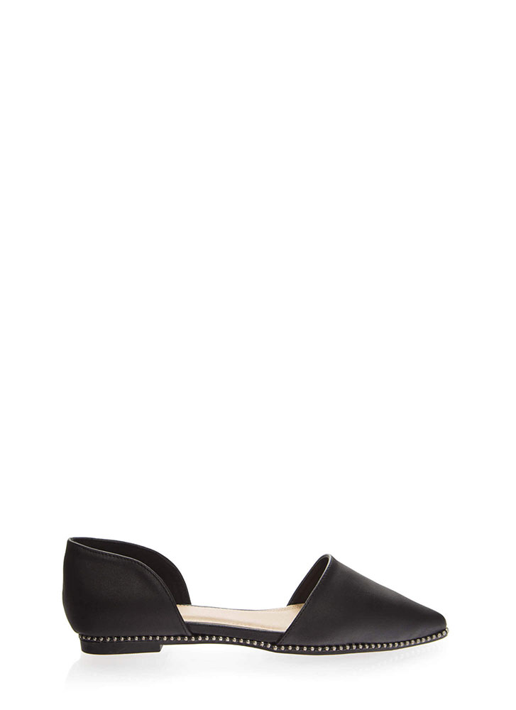 Point The Way Studded D'Orsay Flats BLACK