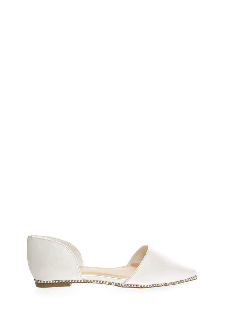Point The Way Studded D'Orsay Flats WHITE
