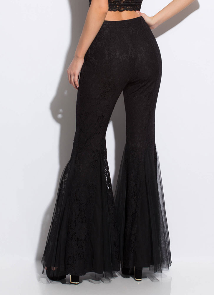 Dramatic Flare Lace Bell-Bottom Pants BLACK