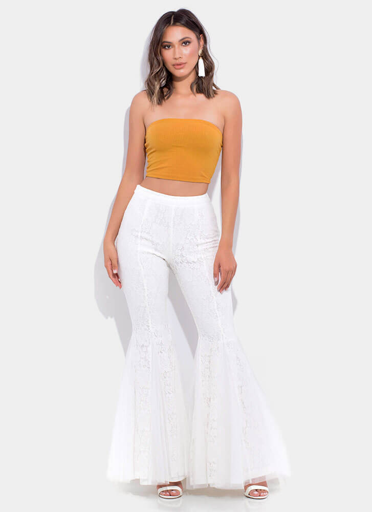 Dramatic Flare Lace Bell-Bottom Pants WHITE