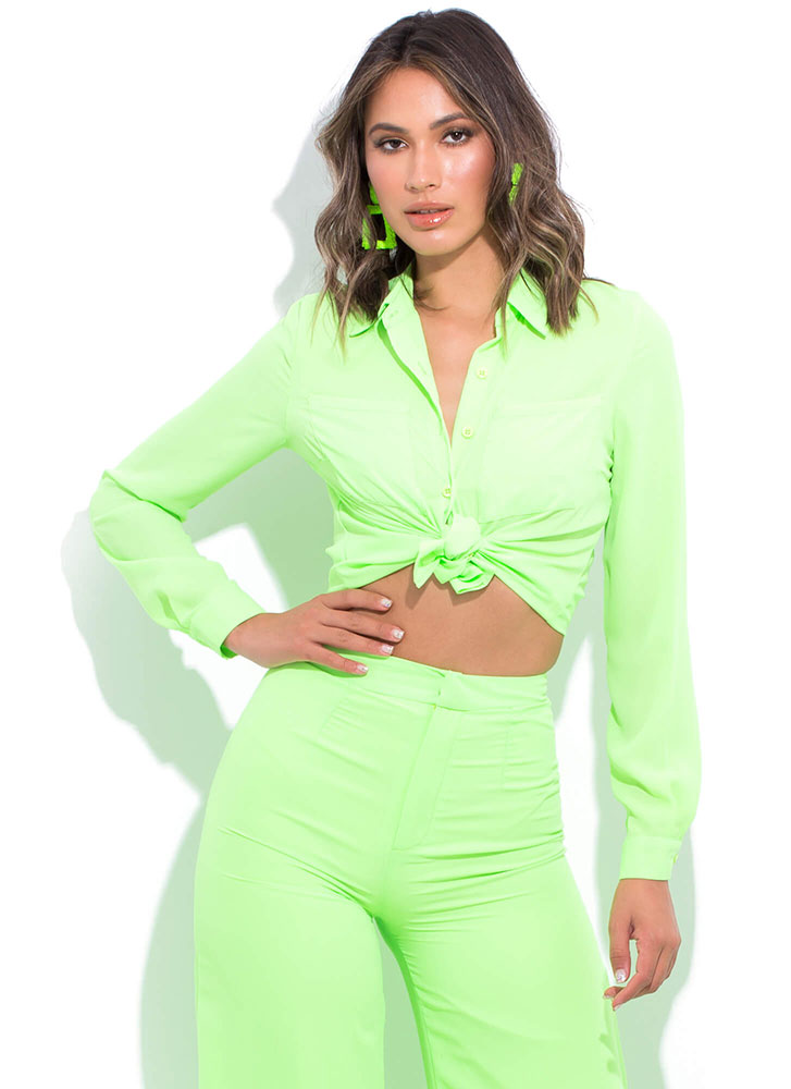 Boss Lady Collared Button-Up Blouse LIME