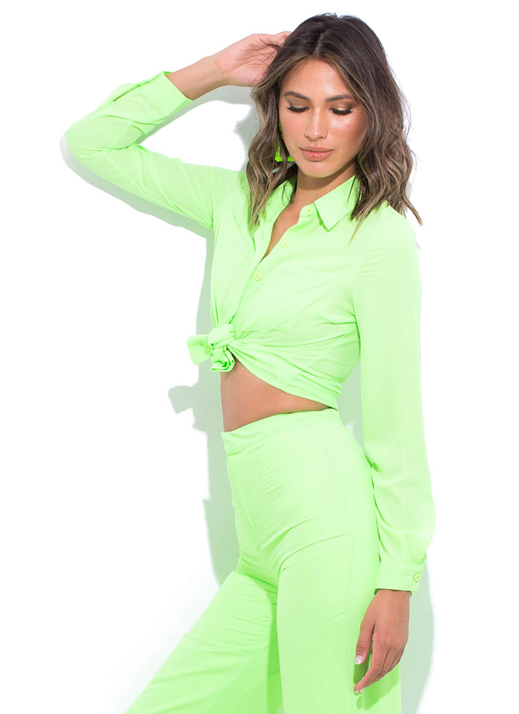 Boss Lady Collared Button-Up Blouse LIME (Final Sale)