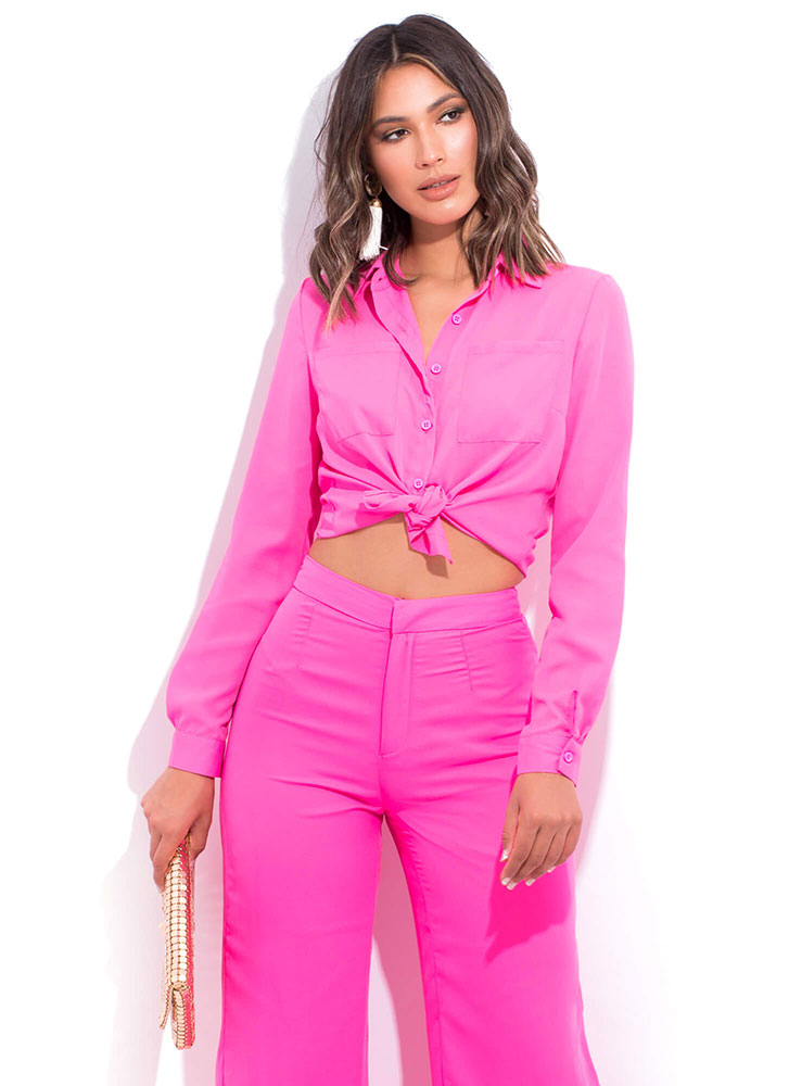 Boss Lady Collared Button-Up Blouse PINK