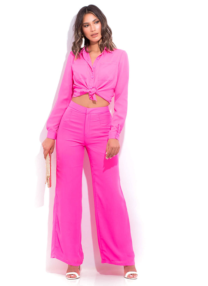 Boss Lady Collared Button-Up Blouse PINK (Final Sale)
