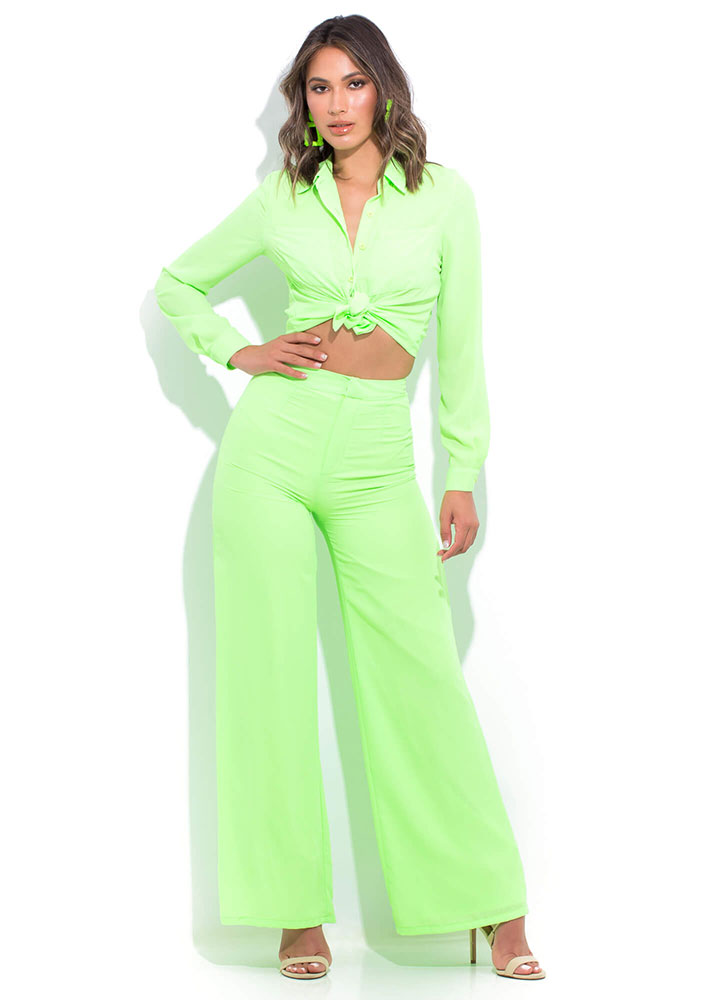 Boss Lady High-Waisted Palazzo Pants LIME