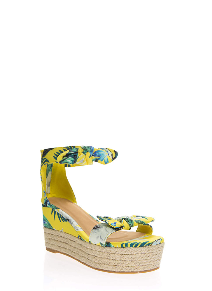 Add Bows Tropical Platform Wedges YELLOW (Final Sale)