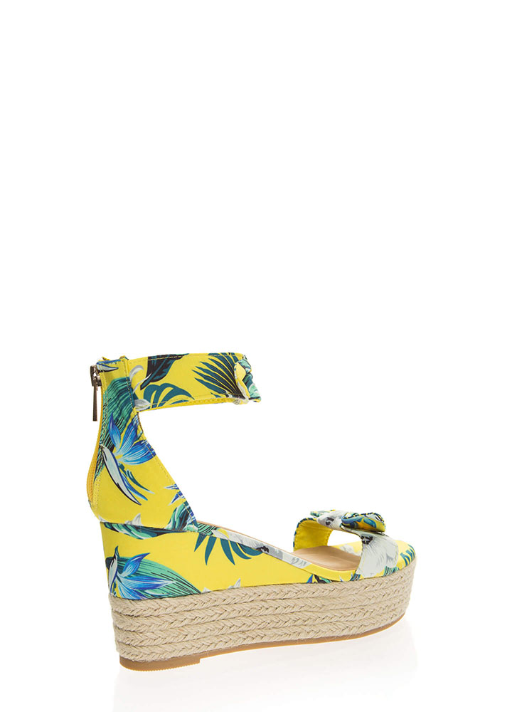 Add Bows Tropical Platform Wedges YELLOW