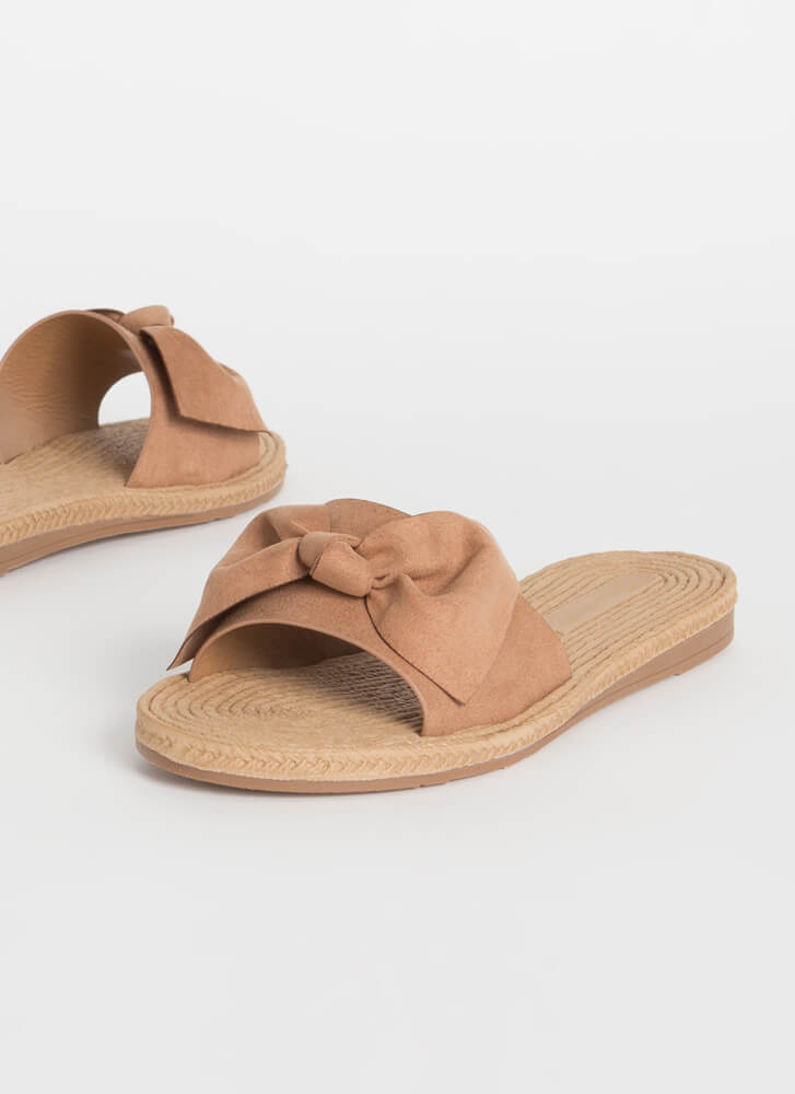 Bow-So-Cute Faux Braided Slide Sandals CAMEL (You Saved $9)