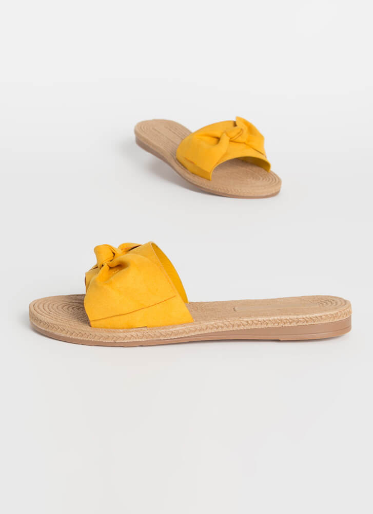 Bow-So-Cute Faux Braided Slide Sandals MARIGOLD (You Saved $9)